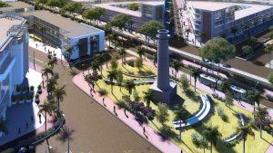 3D - Vue aérienne de Telfair Square (Central Business District de Moka)