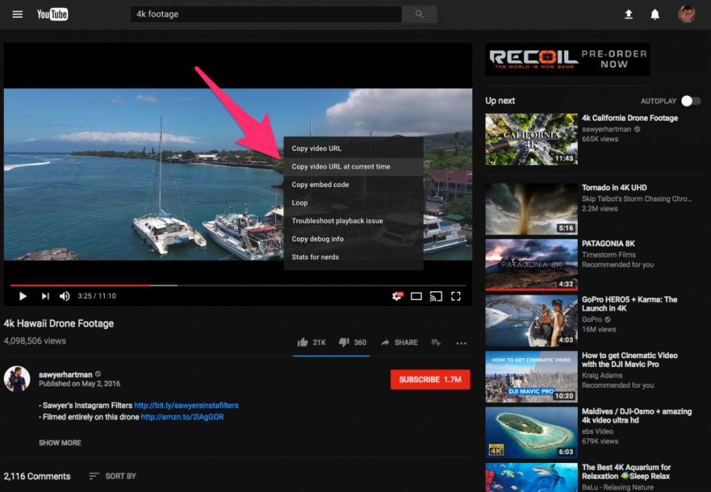 youtube copy url